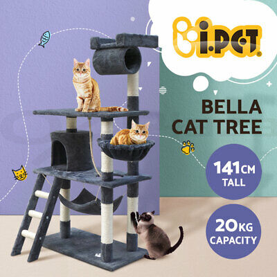 i.Pet Cat Scratching Tree Scratcher Post Pole Furniture House Toy Small 141cm GR