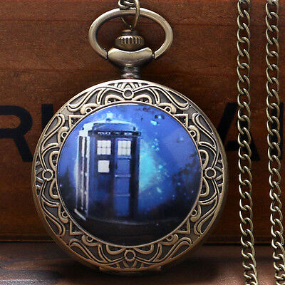 Fashion TARDIS Doctor Who Quartz Pocket Watch Necklace Pendant Gift Vintage