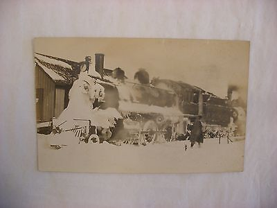 Real Photo Postcard RPPC Milwaukee Road Railroad Snow Covered Engine 1920 #1461