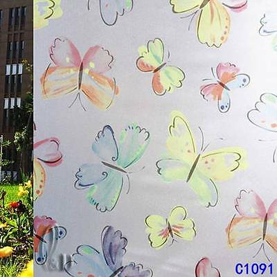 92cmx3m Butterfly Privacy Frosted Frosting Removable Glass Window Film c1091