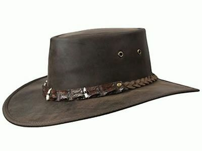 Barmah Outback Crocodile Dundee Teeth Leather Hat - BROWN