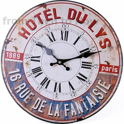 Vintage Large 34cm Hotel Du Lys French Paris Wooden Wall Clock Chic Shabby