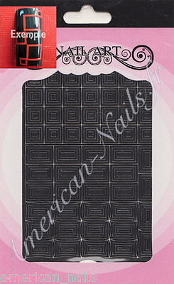 Autocollants Stickers bijoux d'ongles Noir CARRES RECTANGLES GRAPHIQUE Nail Art