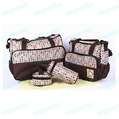 5Pcs Baby Changing Nappy Bag Diaper Mummy BagsWith Bottle Holder Bag 4 Colors UK