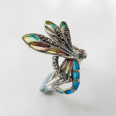 Sterling Silver Marcasite & French Enamel Dragonfly Ring Hallmarked