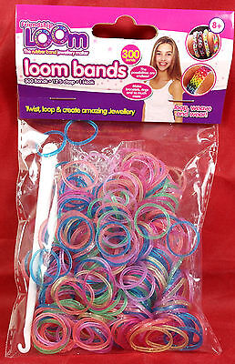 Loom Bands 02 glitter 300 in Pack 12 s-clips