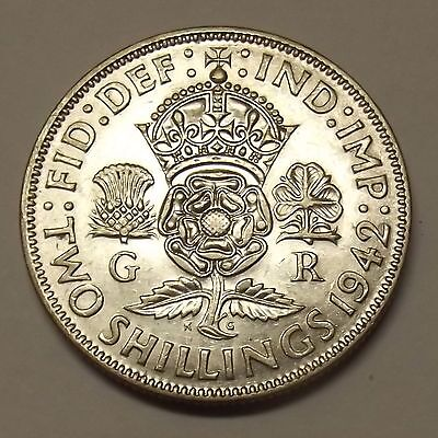 1942 Great Britain Two Shillings (One Florin) Silver Coin