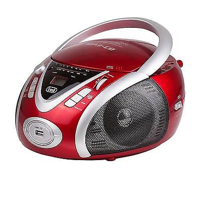 Lecteur Cd Portable Tuner Radio Am Fm Ghettoblaster Interface Usb Sd Mp3 Rouge