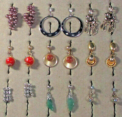 Lot Vintage Earrings 9 Screw back Dangles in PHOTOS Good usable condition #7