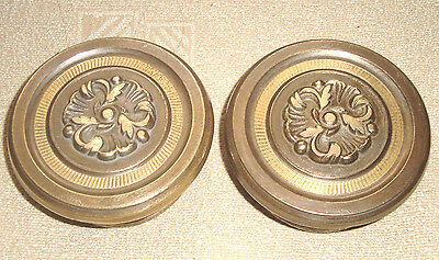 Vintage rare set lot of 2 solid brass pull & push door knobs handles - D25