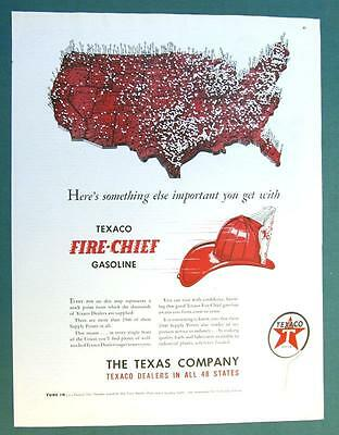 IMPORTANT WITH FIRE CHIEF GASOLINE BECAUSE Original 1947 Texaco Ad 10 x 14