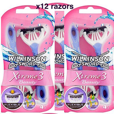 x12 Wilkinson Sword Xtreme 3 Beauty Women Disposable Razor -  3x pack of 4