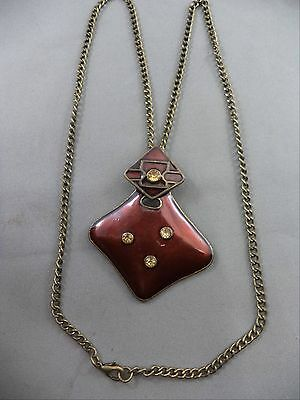 """Bold Necklace Copper Rhinestone Accents Geometric 24"""" Enameled Modernistic"""