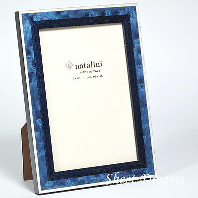 NATALINI HAND MADE Italy Blue White Wood Marquetry Photo Frame 4x6 ...