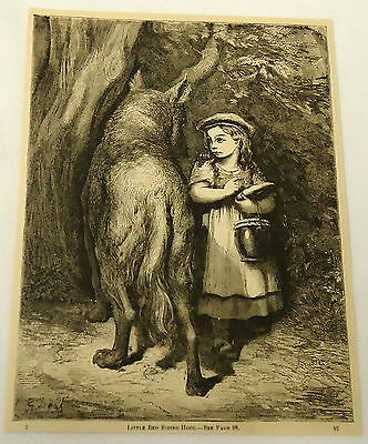 1882 magazine engraving ~ LITTLE RED RIDING HOOD AND THE BIG BAD WOLF