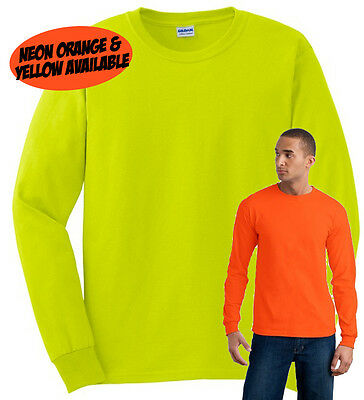 Plain Neon Fluorescent Long Sleeve T Shirt All Sizes Safety Hi Vis Fancy Dress