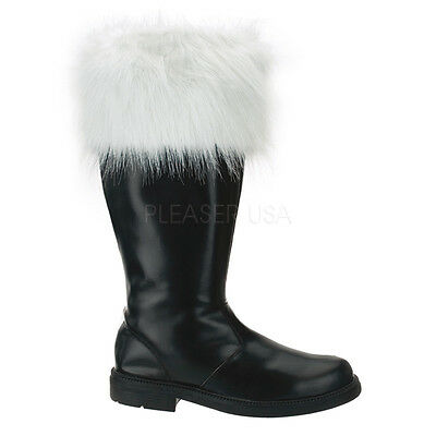 Mens Santa Claus Christmas Costume Shoes Black Boots Extra Tall size 10 11 12 13
