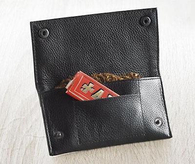 Real Leather Tobacco Pouch Fully Lined With Paper Slot Great Quality Black