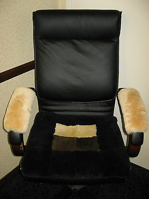 "Beige 10"" Long Real Merino Sheepskin Arm Rest Covers Pad Office Wheel Chair Arms"