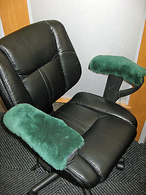 "Arm Rest Covers Green Pair 10"" L Merino Sheepskin Pad Office Wheel Chair Arms"