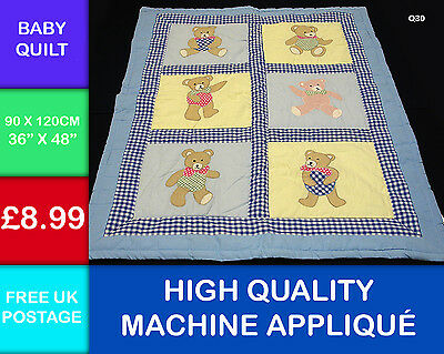 New Childs Baby Patchwork Teddy Bear 100% Cotton Applique Quilt Q30