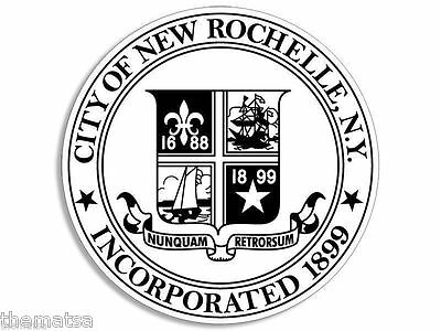 """NEW ROCHELLE NEW YORK CITY SEAL TOOLBOX CAR BUMPER 4/"""" STICKER DECAL"""
