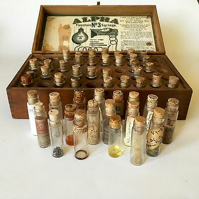 Antique 1800s Medical Doctors Cased Medicine Pharmacy Sm Apothecary Bottles Set