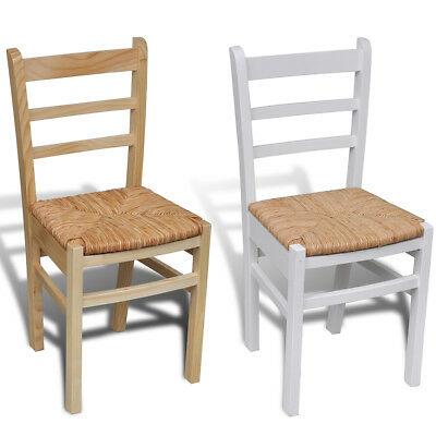 New Wooden Dinning Chair Ladder Back Rush Seat Chairs Modern 2 Colours 2/4/6 pcs