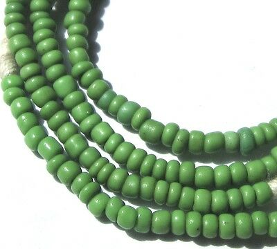 """22"""" Strand Of Rare Iny Old Amazing Green Venetian Antique Beads African Trade"""