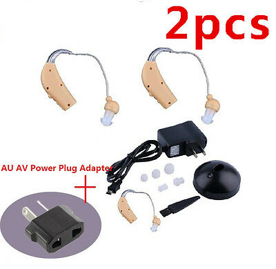 2X Rechargeable Hearing Aids Personal Sound Voice Amplifier Behind The Ear QJ