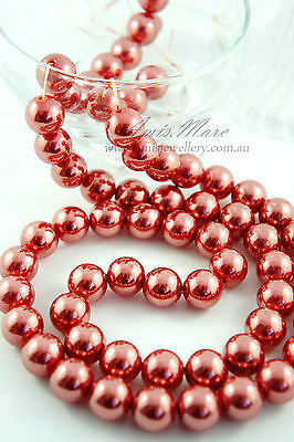 60pcs Pearl Beads 14mm India Red Imitation Polished Acrylic Round Pearl Spacer