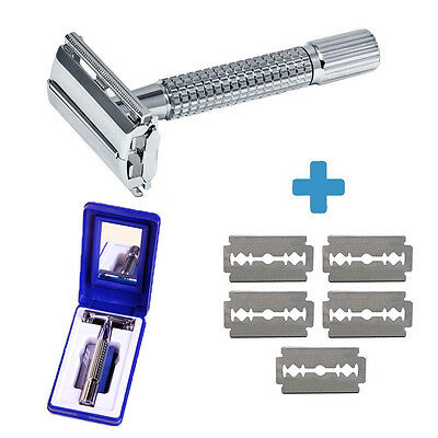 Men's Classic Traditional Double Edge Chrome Shaving Safety Razor With 5 Blades