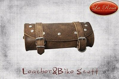 La Rosa Universal Motorcycle Front Fork Tool Bag Rustic Brown with Rivets