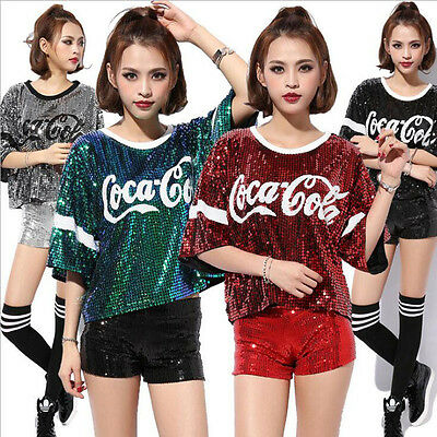 Women Female Hip Hop Sequined Performance clothing Jazz dance costumes dance
