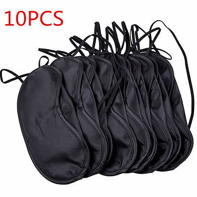 10 x  soft comfortable Eye Mask Shade Cover Blindfold Night Sleeping Black
