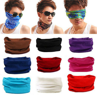 Solid Colors Tube Bandana Head Face Mask Beanie Scarf Neck Gaiter Snood Headwear