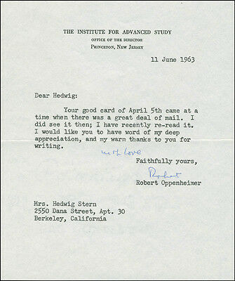 J. Robert Oppenheimer - Typed Letter Signed 06/11/1963