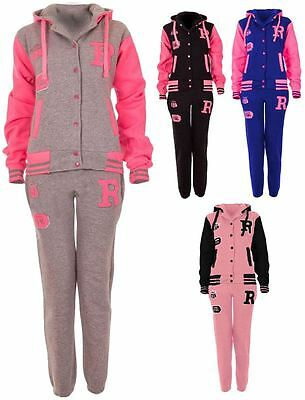 Kids Girls Boys Unisex Jogging Active Sports Baseball Tracksuit Hoodie Jacket