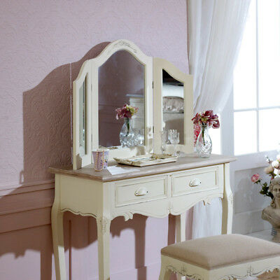 Cream Dressing Table console Triple Mirror French Country Chic bedroom furniture
