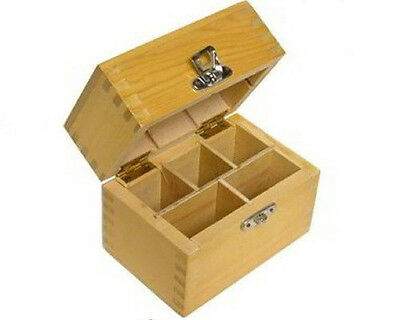 Wood Box 5 Compartments Holds 3 Gold Silver Testing Acids 2 Stone