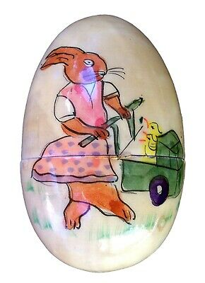 Very Old Cloth Lined Easter Egg Hand Painted