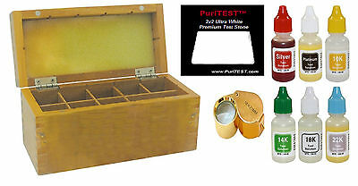 GOLD/SILVER/PLATINUM TESTING KIT 10k14k18k22kTester Acid Test Bottle+ Wooden Box