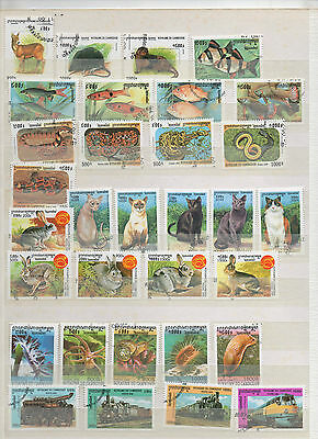 B958.  Royaume Du Cambodge. Lot 2 Pages Timbres Obliteres