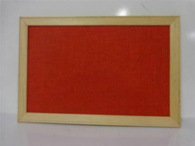 Vintage 12 X 18 Red Burlap Message Bulletin Wood Frame Wall Mount Display