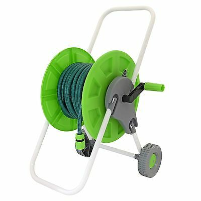 25m Complete Hose Trolley Set Garden Watering Pipe Portable Reel Cart & Fittings