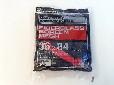 "Fiberglass Screen Mesh Do-It-Yourself Repair Damaged Screens Kit 36x84"" New"