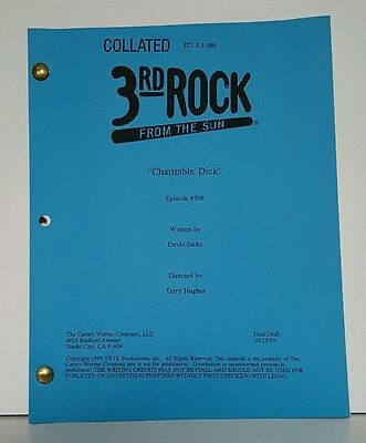 "ORIGINAL 3rd ROCK FROM THE SUN show script ""Charitable Dick"" Episode 508 VINTAGE"