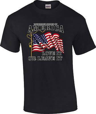Patriotic United States of America Love It or Leave It US Flag T-Shirt