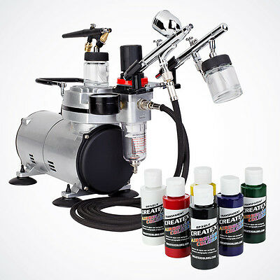 3 Airbrush 6 Createx Primary Color Complete Hobby Kit Air Compressor Dual-Action