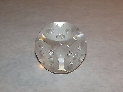 Clear Glass Die Dice Paperweight Frosted w/Rounded Edges